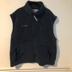 Columbia Blue Fleece Zip-Up Vest Jacket